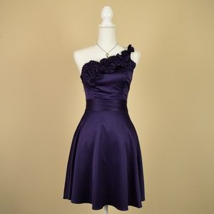 The Limited Satin Plum Purple One Shoulder Dress